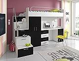 Furnistad | Hochbett für Kinder Sky | Kinderhochbett mit Treppe, Schreibtisch und Schrank (Option links, Weiß + Schwarz)