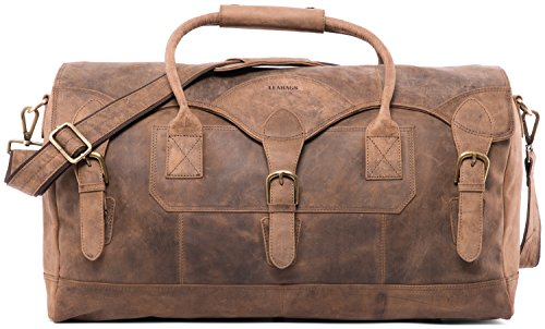 LEABAGS Elche Reisetasche aus echtem Büffel-Leder im Vintage Look - Fallow -