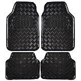 EUGAD Auto Fußmatten/Auto Matten, Alu Look, Universal passend, 4-teilige Riffelblech, Schwarz 7106