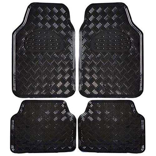Auto Fußmatten/Auto Matten, Alu Look, Universal passend, 4-teilige Riffelblech, Schwarz 7106