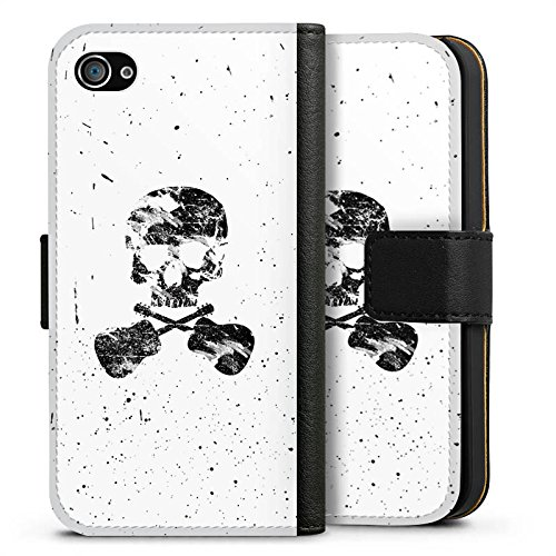 Apple iPhone X Silikon Hülle Case Schutzhülle Ein toter Dichter Totenkopf Skull Sideflip Tasche schwarz