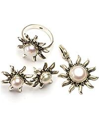 """stargems (TM) Natural Río perla Conjunto de joyería de plata de ley 925diseño único colgante 11/4""""; Anillo 71/2; Pendientes Stud 1"""""""