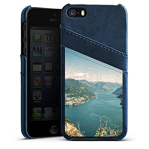 Apple iPhone 5s Housse Étui Protection Coque Paysage Fleuve Montagnes Étui en cuir bleu marine
