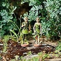 HomeZone® Enchanted Miniature Fairy Figurines Fairy Garden Ornaments Pixie Woodland Elves Forrest Fairies Tree Decoration Garden Or Home Ornaments (2pc Woodland Elves)