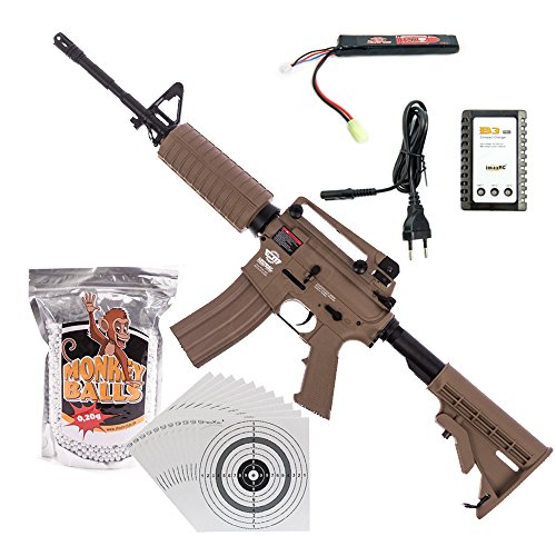 shoot-club24 G&G CM16 Carbine DST Airsoft-Gewehr Kal. 6mm Softair BBs ***<0,5 Joule P14!*** im ★SET★ mit Akku, Ladegerät, Softair BBs und 100 ShoXx.® Zielscheiben