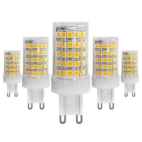 G9 LED Warmweiss 3000K 10W -700 Lumen, G9 70W Halogen Leuchtmittel Ersatz,Nicht Dimmbar, 360° Abstrahlwinkel Energiespar LED Birne, mit Keramik, 220-240V AC, 5er-Pack (Klar Bi-pin-sockel Leuchtmittel)