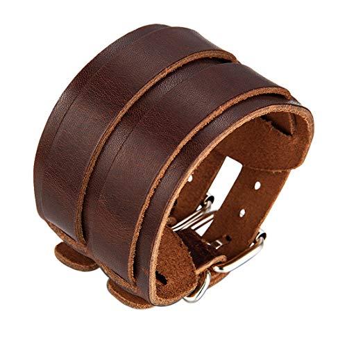 JewelryWe Bijoux Bracelet Homme Manchette avec Boucle Fixation Motard Biker Cuir Alliage Fantaisie pour Homme Couleur Brun Avec Sac Cadeau