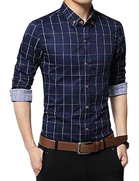 El Hombre Primavera Otoño Ocio Negocio De Puro Algodón Tela Escocesa En Forma Anti Arrugas Manga Larga Camisa