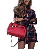 Damen Rollkragen Party Langarm Kleid Mini Abendkleid Winter Kariert Stiefelkleid, Damen Bunt Plaid Bedruckt Quasten Bodycon Modisch Kleid