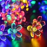 Solar Lichterkette Außen, Garten Lichterkette mit 50 LEDs Blumen Licht, Wasserdichte Solar Betriebene Aussen Beleuchtung, Aussen und Innen Dekoratives Licht für Party, Wand, Hof,Terrasse, Höfe, Zuhause, Baum( bunt )