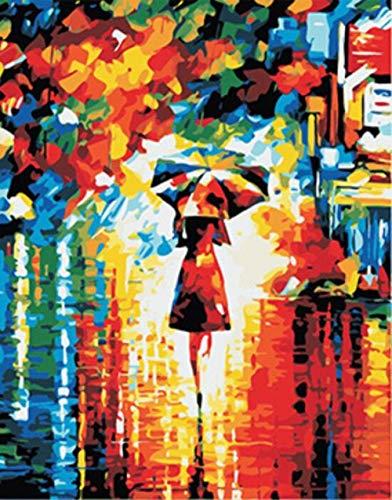 QIANERA Digitale Malerei Malen nach Zahlen Abstrakter einsamer Wanderer DIY Leinwand Ölgemälde Für Moderne Wohn Wohnzimmer Kunst Dekorative 16×20 inch 40×50cm -