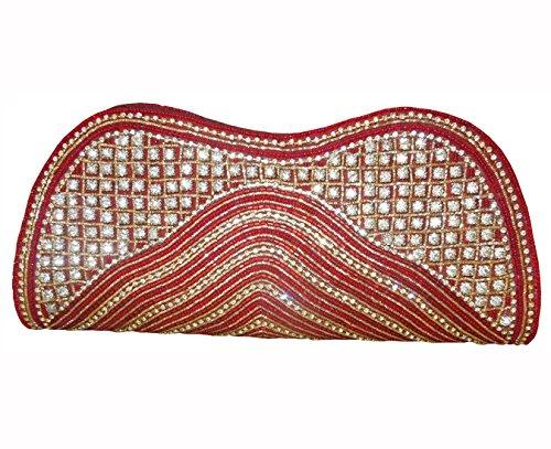 Spice arte donne ricamato frizione Profondo rosso