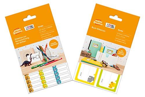 Avery Zweckform 62208 Living Buchetiketten und Etiketten zur Kennzeichnung von Stiften Vorteils-Pack 16, 96 Etiketten