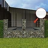 Tuduo Stahl Gabionenkorb U-Form Silber Schutzzaun Sichtschutz für Balkon Garten 100 cm