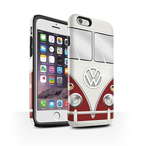 STUFF4 Glanz Harten Stoßfest Hülle / Case für Apple iPhone 6S / Titan Rot Muster / Retro T1 Wohnmobil Bus Kollektion Titan Rot