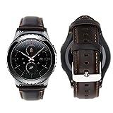 iBazal 20mm Armband Leder Ersatz Kompatibel Samsung Galaxy Watch 42mm/Huawei Watch 2/Samsung Gear S2 Classic/Gear Sport/TICHWATCH 2/Garmin Vivoactive 3/Vivomove HR Smart Watch Etc. - Kaffee
