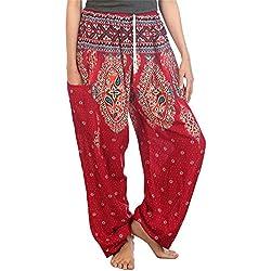 Lofbaz Mujer Floral Impreso Cordón Boho Harén Pantalones Borgoña XL