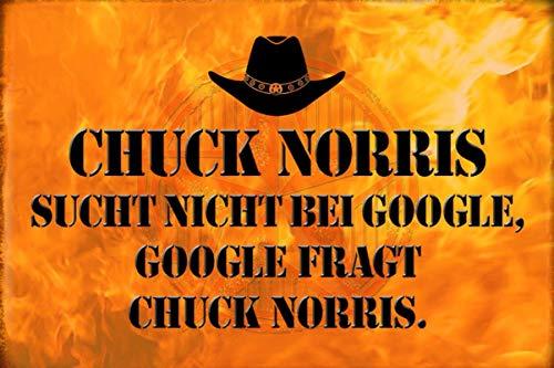 Blechschild 30x20cm Chuck Norris sucht nicht bei Google Spruch Metall Schild (Google-schild)