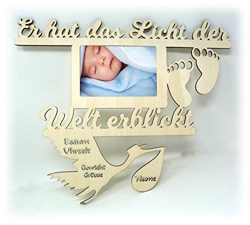 Baby Wand Bilderrahmen mit Namen und Geburtsdaten Geschenke zur Geburt Geschenke für das Babyzimmer erstes Jahr Babygeschenke für Junge -