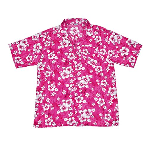 BFD-Camisa-Casual-Button-Down-Floral-Clsico-Para-Hombre-Rosa-Pink-Flower-Shirt-Large