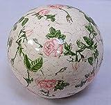 Rosenkugel, Landhaus Gartenkugel Rosenmuster, Keramik Kugel, 16 cm