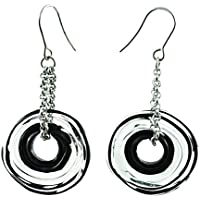 Genuine Murano glass earrings in grey shades - directly from the artist   Stainless steel chain and hanger   Unique glass jewellery personalised   Elegant and handcrafted   Charming Birthday Gift   Wonderful Mother's Day gift for your wife, mother, mom or om