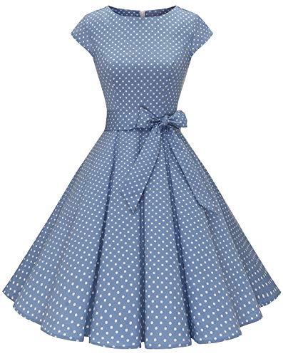MuaDress 1956 Damen Vintage 1950er Retro Rockabilly Cocktail Prom Kleider Cap-Sleeve Leichtblau Kleine Weiß Punkte XXXL -