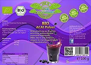 BIO Acai Beeren Pulver pur (Euterpe oleracea)   OHNE Zusatzstoffe   BIO zertifiziert   1er Pack (1 x 100g)