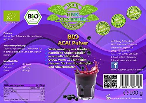 BIO Acai Beeren Pulver pur (Euterpe oleracea) | OHNE Zusatzstoffe | BIO zertifiziert | 1er Pack (1 x 100g)