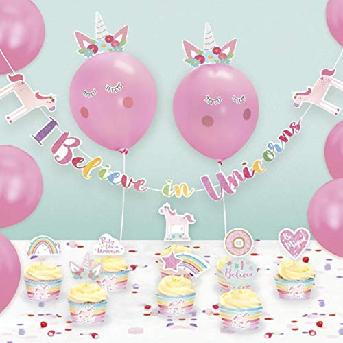 I believe in Unicorns Party Decoration Kit - Balloons Bunting Cake Toppers