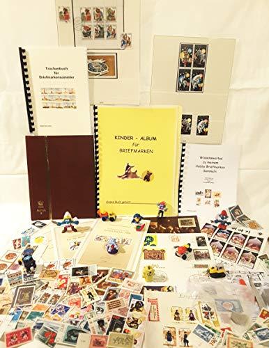 """Briefmarkenset """"Kinder"""" als Geschenk, Überraschungspaket, Briefmarken für Anfänger, Pinzette, Briefmarken, Briefmarkenalbum für Kinder, zum sammeln, Lupe für Kinder, Briefmarken alle Welt, Zubehör,"""