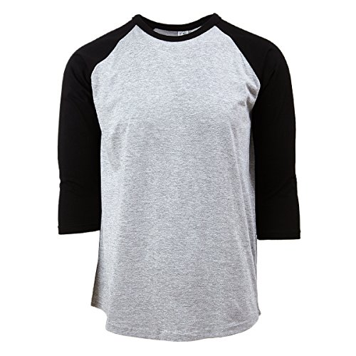 Rich Cotton Baseball T-Shirt (Grau//Schwarz, XL)