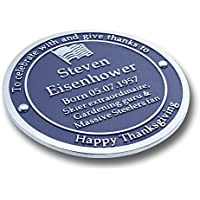 Personalized Blue Heritage Plaque. A Unique Birthday, Anniversary, Valentine Or Christmas Gift Idea For Him Or Her; Suitable For Husband, Wife, Friend Or Grandparents. Handmade In England