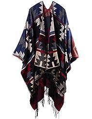Geométricas de estilo de moda Nepal mujeres espesado manta bufanda abrigo Poncho chal cabo acogedor imitación Cashmere regalos ideales para mujer de gran tamaño 150 * 130cm , a