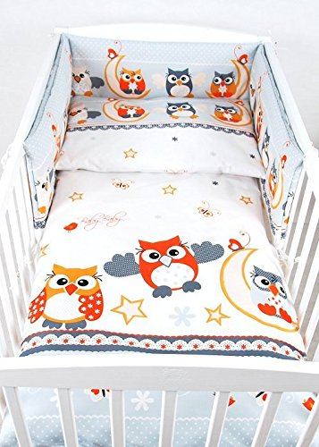 BABYLUX Kinderbettwäsche 2 Tlg. 90 x 120 cm Bettwäsche Bettset Babybettwäsche (57. Eule Grau) (Kleinkind Mädchen Bettwäsche)