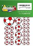 114 Aufkleber, Fußball, Sticker, 15-50 mm, weiß/rot, aus PVC, Folie, bedruckt, selbstklebend, EM, WM, Bundesliga