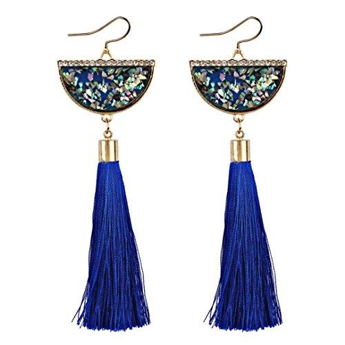 Fossrn Pendientes Mujer Largos Flecos, Pendientes Mujer Baratos Vintage Bohemia Pendientes de Gota borla (Azul)
