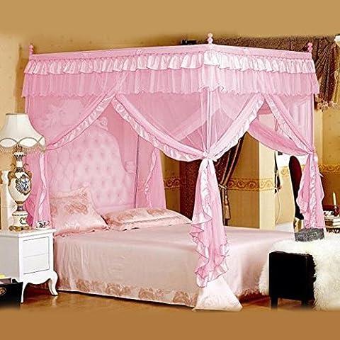 Vier Eckpost Bett Baldachin Vorhang Moskitonetz Schlafzimmer Kinderzimmer Zimmer Prinzessin Stil Netting Bettwäsche Nette Dekoration ( Farbe : Rosa , Abmessung : 1.2m*2m )