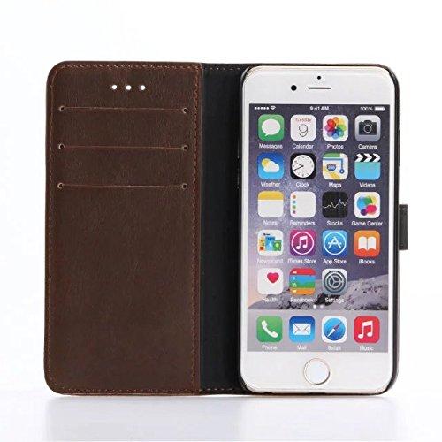 "inShang iPhone 7 Coque 4.7"" Housse de Protection Etui pour Apple iPhone7 4.7 Inch,Coque Avec support fonction, Pochette super- utile, Wallet design with card slot Crazy Horse pattern Dark red"
