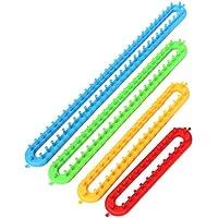 Tejido de plastico - SODIAL(R) Juego de 4 largo tricotadora de tejido de punto telar Juego de artesania de anillas para sombrero bufanda calcetin