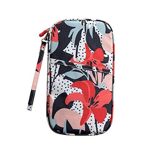 Comfysail - Cartera de viaje multiusos con diseño de flores, para pasaporte, tarjetas, organizador de dinero en efectivo con correa de mano Red Lily 24 * 14.5 * 2cm