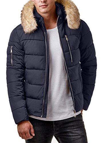EightyFive Herren Winter-Jacke Fell-Kapuze Gesteppt Zipper Schwarz Khaki EF319, Größe:L, Farbe:Navy