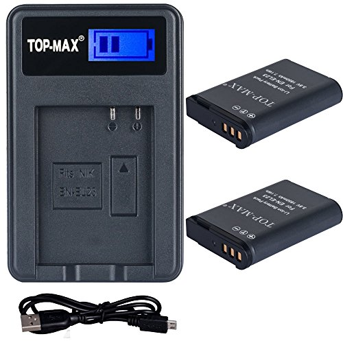 2x Batería Top-Max para EN-EL14 + Cargador Dual USB para Nikon D3100 D3200 D3300 D3400 D5100 D5200 D5300 D5500 D5600, Nikon CoolPix P7000 P7100 P7700 P7800