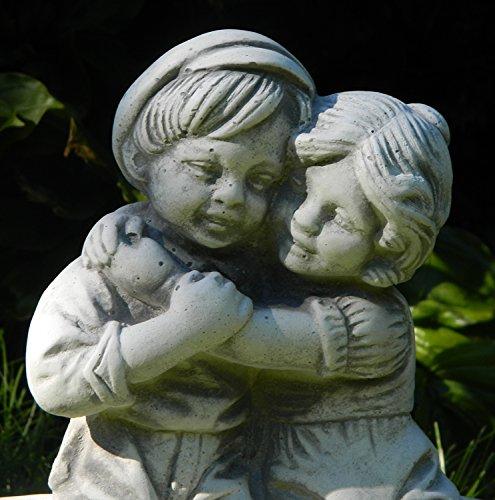 Beton Figur Mädchen und Junge auf Bank H 33 cm Dekofigur und Gartenskulptur