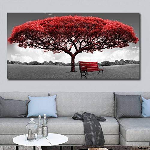 SUNNYFOR Rahmenlose Malerei 60X120 cm Moderne Rote Geld Baum Wandkunst Leinwand Poster Drucke Ungerahmt Wandbilder Für Büro Wohnzimmer Wohnkultur Kunstwerk -