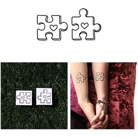 Tatuaje Temporal Tattify - Pieza de rompecabezas - Desconcertado (Juego de 2)