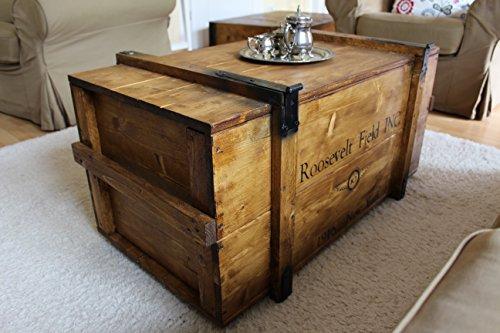Uncle Joe´s Truhe Holzkiste Roosevelt Field, 98 x 55 x 48 cm, Holz, Hellbraun, Vintage, Shabby chic Couchtisch, braun, 98x55x48 cm - 4