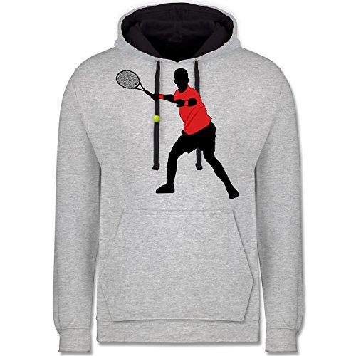 Tennis - Tennis Vorhand - Kontrast Hoodie Grau meliert/Dunkelblau