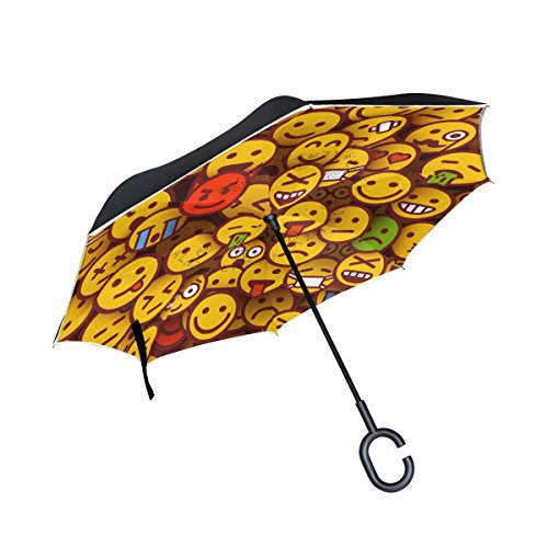 Mnsruu - Paraguas invertido Doble Capa Expresiones