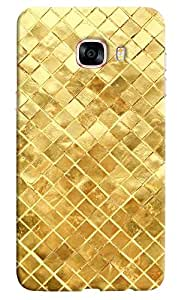 Omnam Golden Square Printed With Effect Designer Back Cover Case For Samsung Galaxy C7
